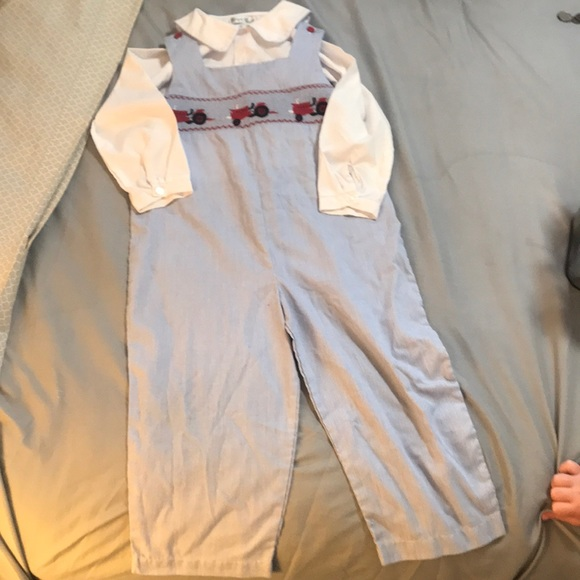 512319907a2 Boys tractor smocked jumper overall set